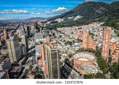 Bogotà / Colombia; December 2018 Wide angle aereal view from the Colpatria tower of the city center