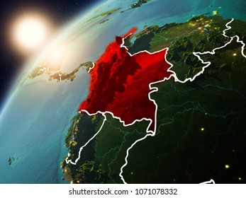 Colombia during sunset highlighted in red on planet Earth with visible country borders. 3D illustration. Elements of this image furnished by NASA.