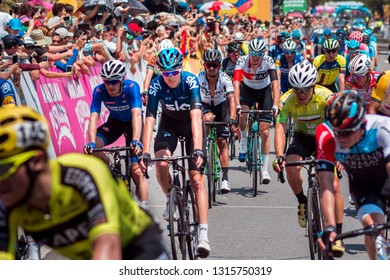 Medellín, Colombia, February 12, 2019: During stage 4 of the Tour Colombia 2.1, an urban circuit