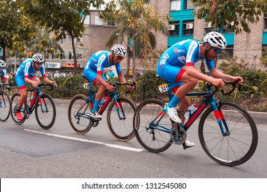Medellín, Colombia, February 12, 2019: Sebastian Caro, Basilio Ramos and Steven Cuesta from Team Deprisa during the first stage of the Colombia 2.1 Tour, a team time trial