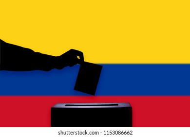 Colombia flag with ballot box