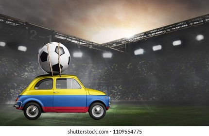 Colombia flag on car delivering soccer or football ball at stadium