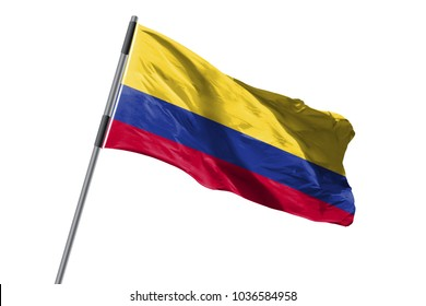 Colombia Flag waving against white background stock image