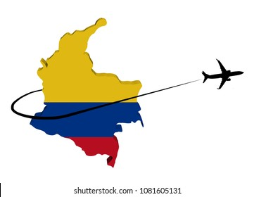 Colombia map flag with plane silhouette and swoosh 3d illustration