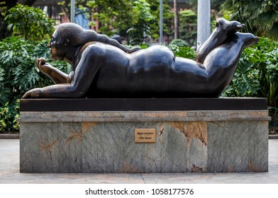 MEDELLÍN, COLOMBIA - MARCH 27, 2018: Statue in the Plaza de Botero of Medellin Colombia. Botero donated 23 sculptures to his hometown Medillin, this place is the most visited by tourists.