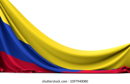 Colombia national flag hanging fabric banner. 3D Rendering