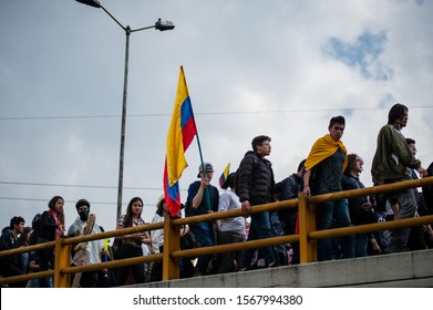 BOGOTÁ, COLOMBIA - NOVEMBER 21, 2019: Students from multiple private and public universities in Bogotá, march together during the 21N Paro Nacional in colombia.