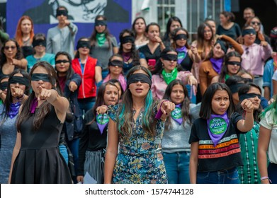 BOGOTÁ, COLOMBIA - NOVEMBER 29, 2019: Feminist demonstrators in the National University of Colombia to protest against women violence and president Iván Duque's Government, during the national strike.