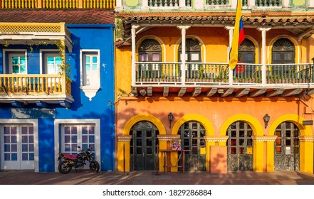 Colombia, Scenic colorful streets of Cartagena in historic Getsemani district near Walled City (Ciudad Amurallada)