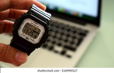 Medellín, Colombia - Septiembre 2018: A new Casio G-Shock digital watch classic design