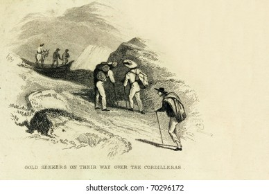 COLOMBIA, SOUTH AMERICA- CIRCA 1828-Unidentified gold prospectors cross the Cordilleras. This image is of an antique miniature drawing from the Illustrated Atlas of the World published circa 1828