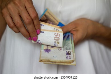 Colombian banknotes fifty thousand pesos.