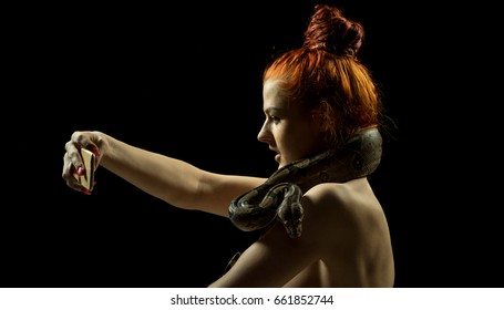 Colombian Boa and woman. Tropical brown constrictor curled on her body. Snake skin with yellow and black spots on a black background
