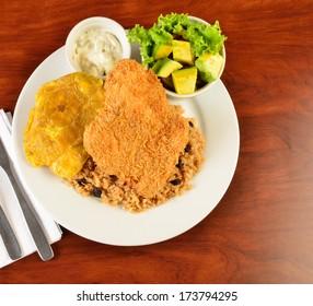 Colombian cuisine. Breaded Chicken.