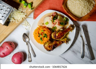 Colombian cuisine papas chorreadas roasted chicken legs and