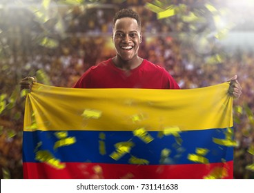 Colombian fan holding the national flag