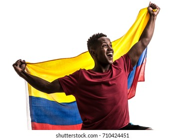 Colombian Fan / Sport Player celebrating on white background