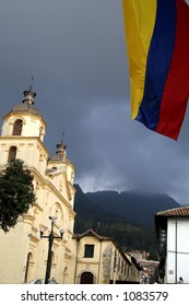 Colombian Flag. Church. Bogota. Colombia.