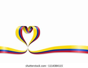 Colombian flag heart-shaped wavy ribbon. Raster version.
