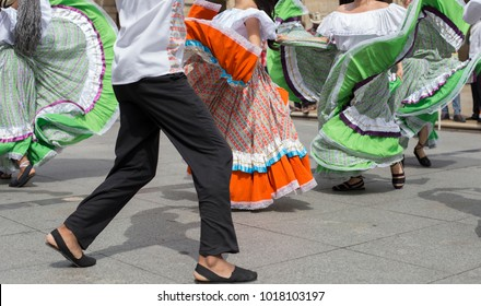 Colombian folk dance group with traditional clothing
