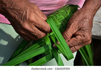 A Colombian indigenous craftswoman weaving a baskets from palm leaves