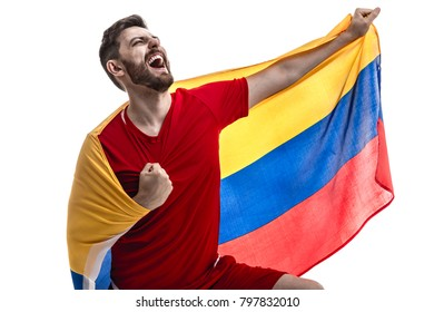 Colombian male athlete fan celebrating on white background