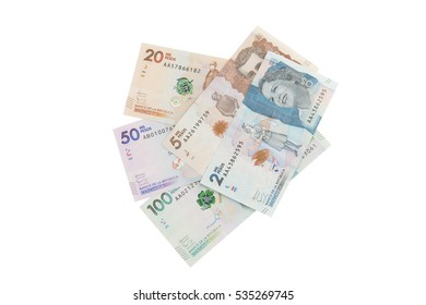 Colombian money on a white background