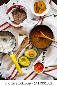 Colombian national food lunch cooking.