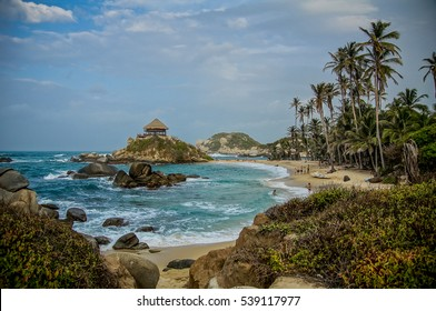 Colombian national park with the hut on the island and sea bay