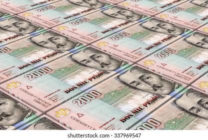 Colombian pesos bills stacks background. Computer generated 3D photo rendering.