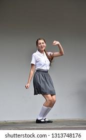 Colombian Teen Girl Having Fun Standing