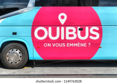 Colombier, France - July 16, 2018:  Ouibus bus at a station. Ouibus is a subsidiary of French state railways SNCF which has operated coach services in Europe since 2012