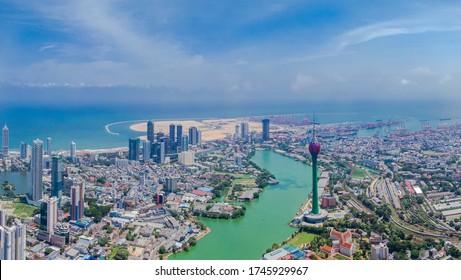 Colombo aerial shot, iconic places in sri lanka, lotus tower sri lanka, drone shot colombo, isolation nation