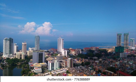 Colombo Aerial view from 240M above. Port city development.