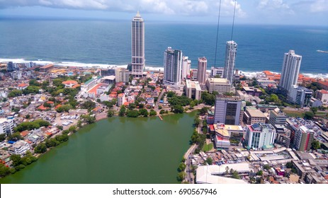 Colombo Aerial view from 250 m above. Rising Sri Lanka. Skyscrapers and skyline.