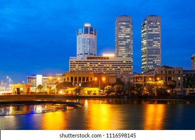 Colombo city skyline and Beira lake chanel at sunset. Colombo is the commercial capital and largest city of Sri Lanka.