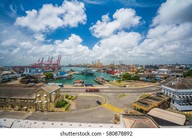 Colombo harbor in Sri Lanka