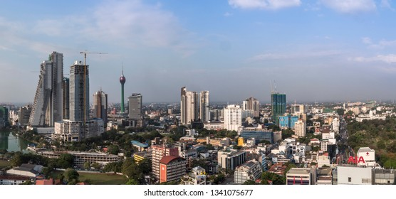 Colombo, Shri Lanka - February 13, 2019: A Panorama of Colombo, Shri Lanka, with Altair building and Lotus Tower