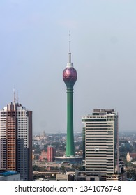 Colombo, Shri Lanka - February 13, 2019: A Colombo Lotus Tower, is a tower of 350 m  located in Colombo, Sri Lanka. When completed, the tower will be the tallest self-supported structure in South Asia