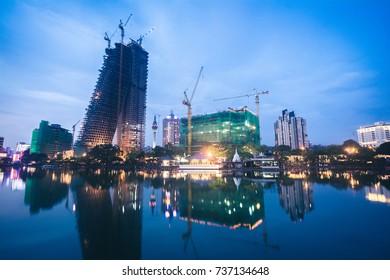 Colombo skyline near Bere lake at night