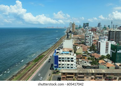 Colombo skyline and ocean front facing the Indian Ocean, with modern developments in-sight, including the Chinese port city, Sri Lanka