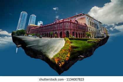 Colombo skyline Sri Lanka digital photo manipulation