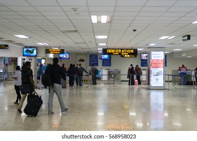 COLOMBO, SRI LANKA - 11 DEC 2016: Immigration passport control point in international terminal in Bandaranaike airport.