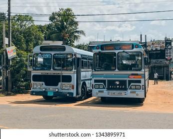 Colombo, Sri Lanka, 6/2017: two old bus parked(LANKA ASHOK LEYLAND and EICHER)