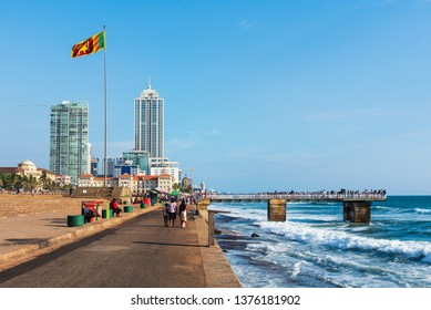 Colombo, Sri Lanka - April 5, 2019: Galle Face Green beach and waterfront park and residential area in Colombo, capital of Sri Lanka