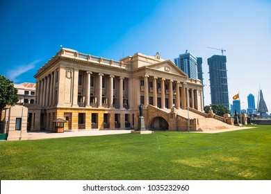 COLOMBO, SRI LANKA - DEC 24, 2016: Building of Old Parliament (Secretariat of the president Sri Lanka) on Dec 24, 2016 in the suny day. Sri Lanka . Colombo.
