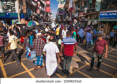 COLOMBO SRI LANKA - DEC 24, 2016: Street near the Pettah Market or Manning Market in Colombo on Dec 24, 2016, Sri Lanka. Pettah Market located in the suburb of Pettah in Colombo Sri Lanka.
