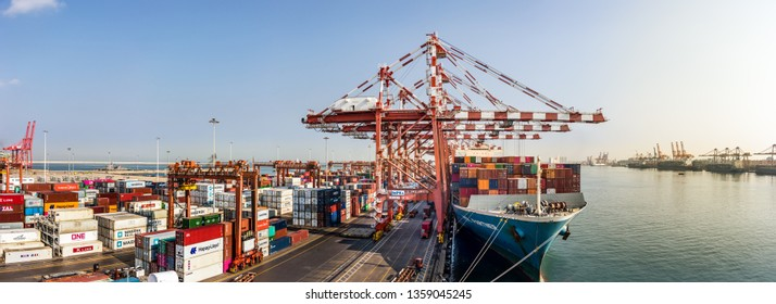 COLOMBO, SRI LANKA - February  19, 2019: Panoramic view of the ship yard and dock of the Port Of Colombo, Sri Lanka.
