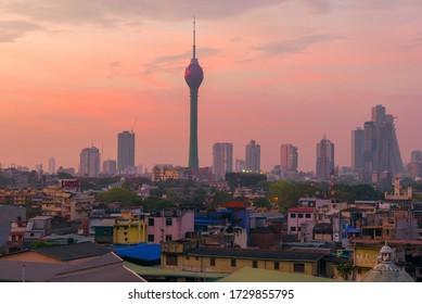 COLOMBO, SRI LANKA - FEBRUARY 22, 2020: Lotus Tower in the urban dawn landscape
