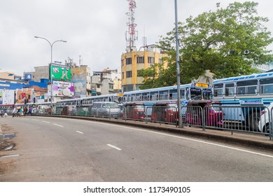 COLOMBO, SRI LANKA - JULY 26, 2016: Traffic on Olcott mawatha street in Colombo, Sri Lanka